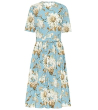 Floral stretch-cotton midi dress