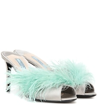 Feather-trimmed satin mules