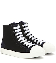 Velvet high-top sneakers