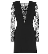Lace-paneled wool-blend minidress