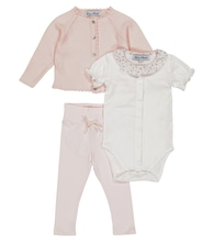 Baby cotton cardigan, bodysuit and pants set