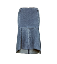 High-rise denim godet skirt