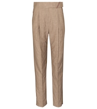 High-rise straight wool and linen pants