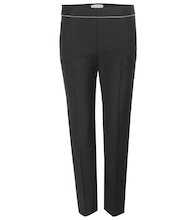 Embellished cropped wool-blend trousers