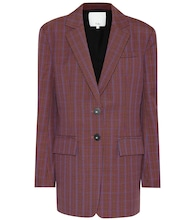 Checked wool-blend blazer
