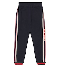 Logo-taped cotton trackpants