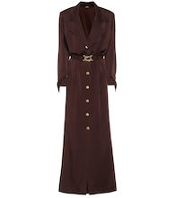 Belted satin maxi shirt dress