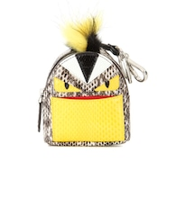 Bag Bugs Backpack snakeskin fur-trimmed charm