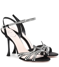 Hotfix embellished satin sandals