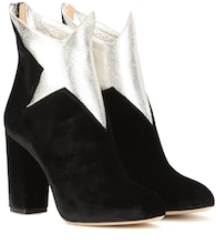 Galactica velvet and leather ankle boots