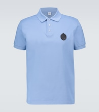 Polo shirt with leather crest