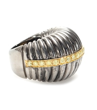 OXIDIZED STERLING SILVER RING WITH YELLOW DIAMONDS SET ON 18KT YELLOW GOLD