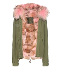 Mini fur-lined cotton parka with fur-trimmed hood
