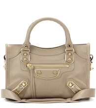 Classic Metallic Edge Mini City leather tote