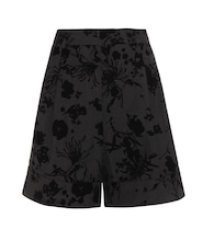 Devoré cotton-blend shorts