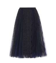 Tulle and lace midi skirt