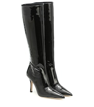 Patent knee-high leather boots