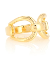 Horsebit 18kt gold-vermeil ring