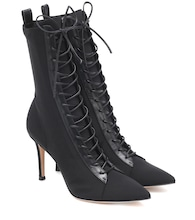 Lace-up satin ankle boots
