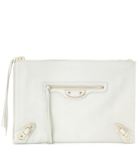 Classic Pouch Metallic Edge leather clutch