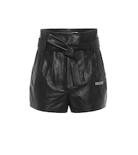 High-rise leather paperbag shorts