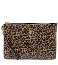 Leopard-print leather tablet pouch