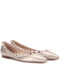 Valentino Garavani Rockstud metallic leather ballerinas
