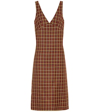 Checked wool midi dress