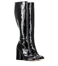 Patent leather knee-high boots