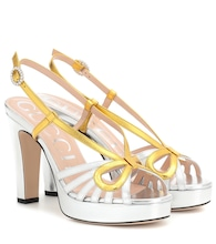 Metallic leather plateau sandals