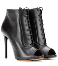 Pace leather peep-toe ankle boots
