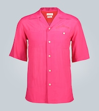 Camp-collar short-sleeved shirt