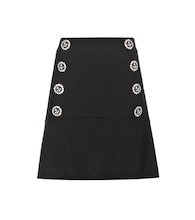 Embellished virgin wool skirt
