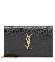 Uptown croc-effect leather clutch