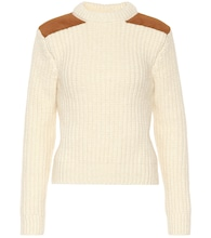 Suede-trimmed wool-blend sweater