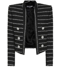 Metallic striped tweed jacket