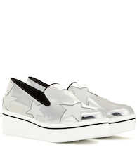 Metallic platform slip-on sneakers