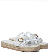 Leather-trimmed espadrille slides