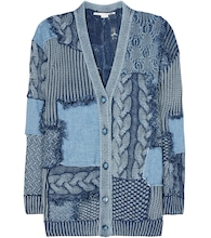 Knitted and denim cotton cardigan