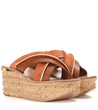 Camille platform suede and leather sandals
