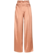 Wide-leg satin twill trousers