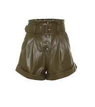 High-rise faux-leather paperbag shorts