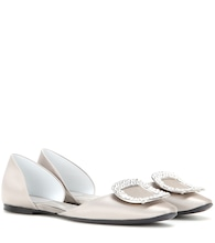 Crystal-embellished satin ballerinas