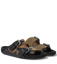 Lennyo suede and leather sandals