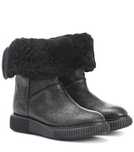 Bottines en cuir et shearling