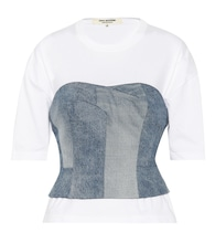 Denim bustier T-shirt
