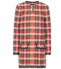 Checked wool-tweed minidress