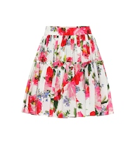 Floral-printed cotton miniskirt