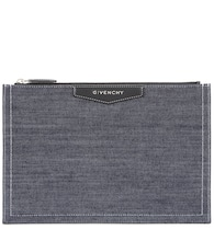 Antigona denim and leather clutch