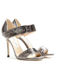 Tallow snakeskin sandals with sequins